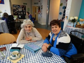 Marion (right) helping 86 year old Muriel at Eden Rural Foyer's Access through the Internet