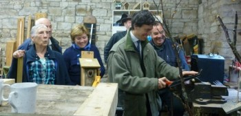 Local MP Rory Stewart visiting the Men in Sheds project at Caldbeck