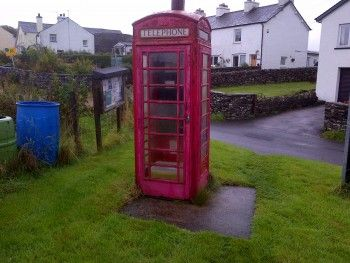 Lowick Green phone box before the restoration